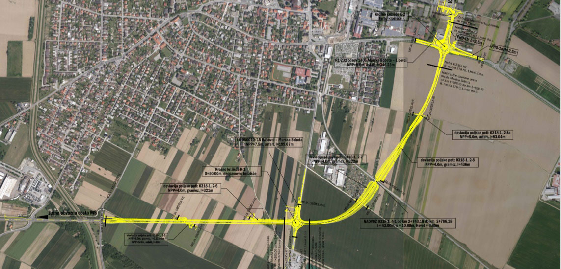 Production of project documentation for the southern bypass road of the city of Murska Sobota